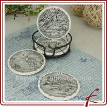 China Fábrica Porcelana Cerâmica Coasters com suporte de ferro