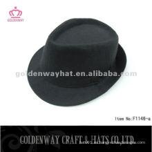 Sombrero de sombrero negro con banda de moda de poliéster para los hombres trilby fedora sombrero al por mayor