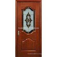 Caoba chapeada pintada puerta tallada de madera elegante diseño con arte en vidrio
