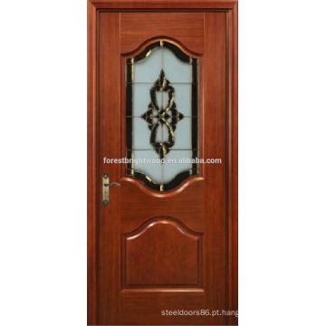 Folheado de mogno pintado Design esculpido chique de porta de madeira com vidro da arte