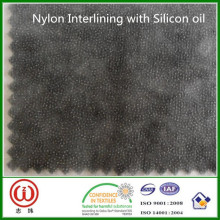 Best quality glue charcoal nylon interlining with silicon oil for soft PVC