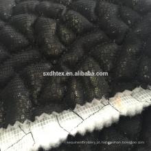 laço bordado folha estofando tecido, folha de tecido térmico acolchoado para o vestuário