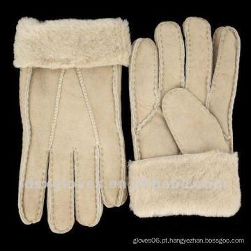 Luvas de pele de carneiro extremo frio tempo