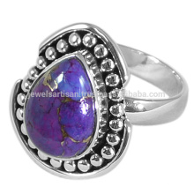 2017 O mais recente design Purple Copper Turquoise Gemstone 925 Solid Silver Ring Jewelry