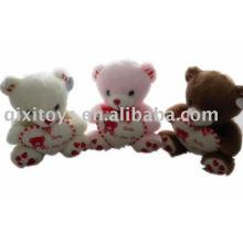 pelúcia recheado dos namorados lindo urso com coração, brinquedo animal macio presente