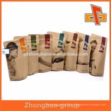 Stand up forrado de papel kraft marrón bolsas de papel con cremallera de proteína en polvo o suplementos