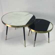 round marble sofa edge side table combination