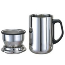 Stainless Steel Double Wall Mug with Handle, Tea Strainer, 350ml