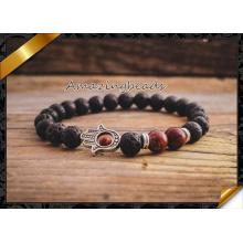 Neue Produkte Großhandel schwarze Lava Stein Perlen natürlichen Stein Armband (CB046)