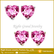 Pink Heart Shaped Prong Set Cubic Zirconia 316L Surgical Stainless Steel Earrings Stud