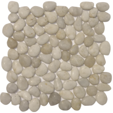 Ladrilhos de mosaico de pedra de seixo polido de rio plano fatiado