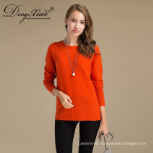 Factory High Quality Erdos Round Neck Orange Color Cashmere Sweater With Fast Delivery Date