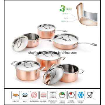 Cookware 3ply Copper Pot and Pan Set