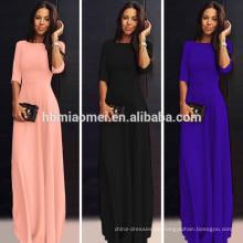 Ballkleid reine Farbe sexy Muster Satin Bankett Party tragen elegante bodenlangen formale schwarz Langarm Abendkleid