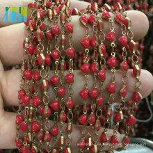 Cuentas de acrílico en forma de corazón Cuentas de cadena en forma de rosario de alambre de metal