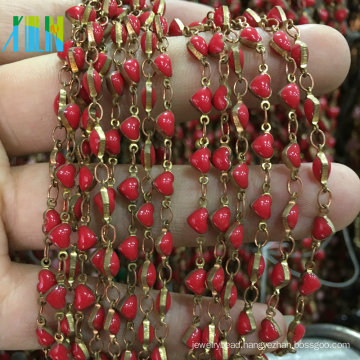 Heart Shape Acrylic Beads Chain Metal Wire Rosary Beads Chain