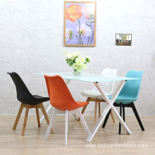 Europe style for Dining Chairs Colorful wooden legs leather upholstery dining chair supply to Netherlands Wholesale