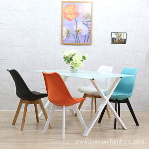 Colorful wooden legs leather upholstery dining chair