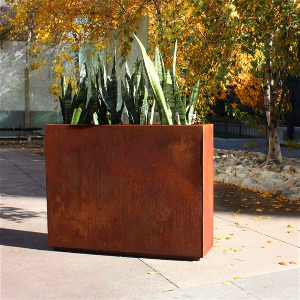 Natural Rust Finish Steel Planter