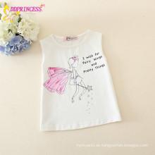 Großhandel 100% Baumwolle ärmelloses weißes Kinder T-Shirt