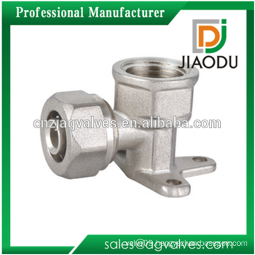 Wall Plated Female Elbow Brass Compression Fitting For PEX-AL-PEX Pipe