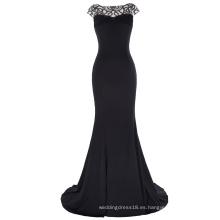 Kate Kasin palabra de longitud de la manga del casquillo V-Back vestido de fiesta negro vestido de fiesta baile KK001015-1
