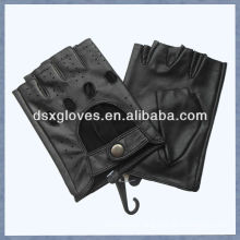 black sheepskin leather fingerless gloves