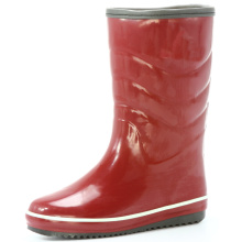 Middle Red Women's  Rubber Rain Boots With Sponge Lining