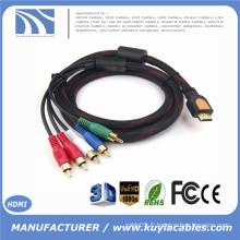 Entrée HDMI Sortie RCA HDMI à 5 RCA Câble diviseur avec vidéo Audio AV Cordon blindé Câble 1080p