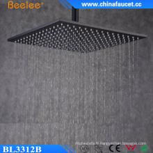 Douche de pluie de 12 pouces de salle de bains en acier inoxydable peinte noire de pluie