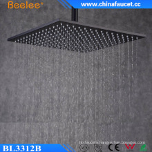 Rainfall 12 Inch Black Painted Stainless Bathroom Waterfall Overhead Shower