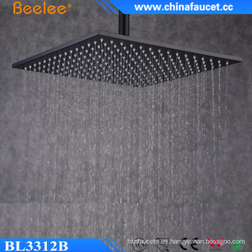 Lluvia de 12 pulgadas negro pintado ducha de arriba de la cascada de baño de acero inoxidable