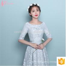 Manga corta de té de longitud Alibaba Suzhou Factory vestido de dama de honor formal