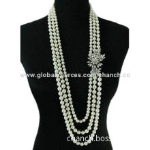 Graceful Long Necklace with Three Layers Imitation Pearls, Decorated with Alloy Ornament and CrystalNew