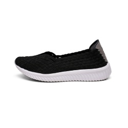 Lightweight Style Slip-ons Black Casual Woven Pumps
