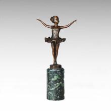 Niños figura estatua Little Ballet Girl escultura de bronce TPE-702