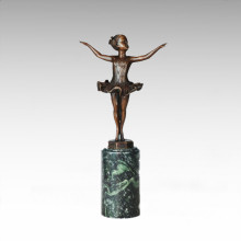 Statue de la figure des enfants Little Ballet Girl Bronze Sculpture TPE-702