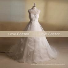 MRY016 novas camadas reais organza saia vestido de noiva botão de decoração para trás rendas vestidos de casamento de pescoço alto