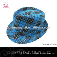 Custom Blue checked fedora hat for sale