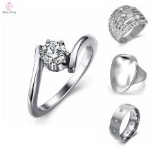 Diseños de anillo de plata de acero inoxidable personalizados para niña, anillo de plata de acero inoxidable