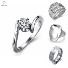 O anel de prata de aço inoxidável feito sob encomenda projeta para a menina, anel de prata de aço inoxidável