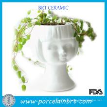 Plantadores de cabeça de cerâmica branca Beauty Girl