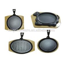 Base de madera redonda de hierro fundido sizzling plate / steak pan