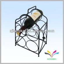Hot sale decorativo resistente metal preto piso carrinho 5 garrafa vinho rack