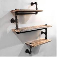 Rustic Urban Pipe Wall 3 Tiers Wooden Shelves