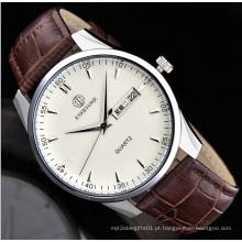 Movimento de quartzo pulseira de couro homens relógio do esporte