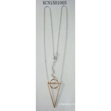 Simple Necklace with Geometry Triangle Circle Pendant