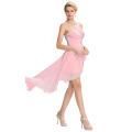 Grace Karin 2016 nuevo diseño sin tirantes de alta baja baratos cequis gasa rosa vestido de baile de fin de curso GK000042-2