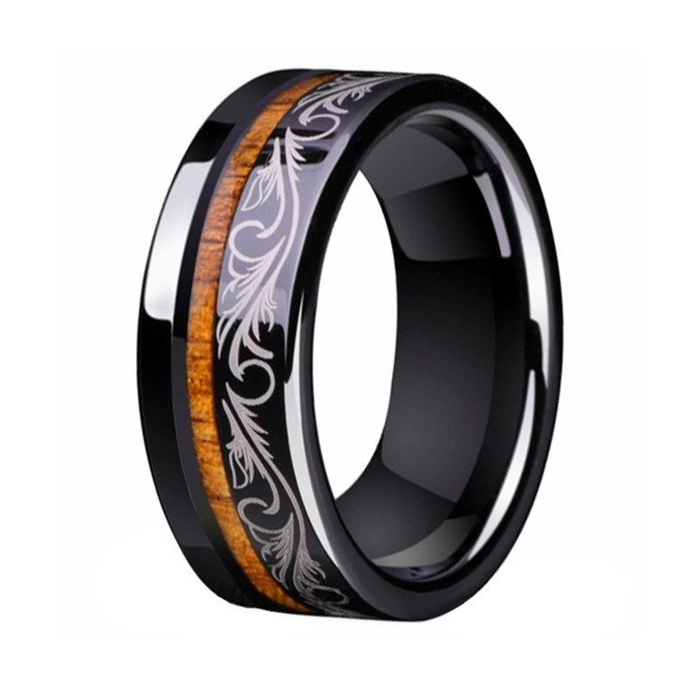 Black Tungsten Wood Inlay Ring
