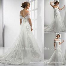 De primera calidad una línea de tul y encaje cariño tren capilla que coincide con el vestido de novia vestido de novia LL-0271